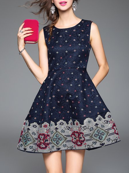 Navy Blue Jacquard A-line Embroidered Vintage Midi Dress - StyleWe.com