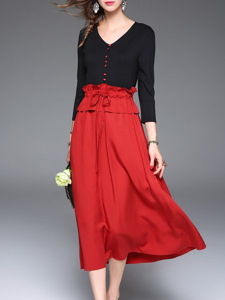 Red Simple Ruffled V Neck Plain Midi Dress