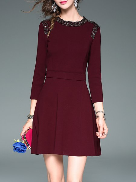 Burgundy Cotton Simple Beaded Mini Dress