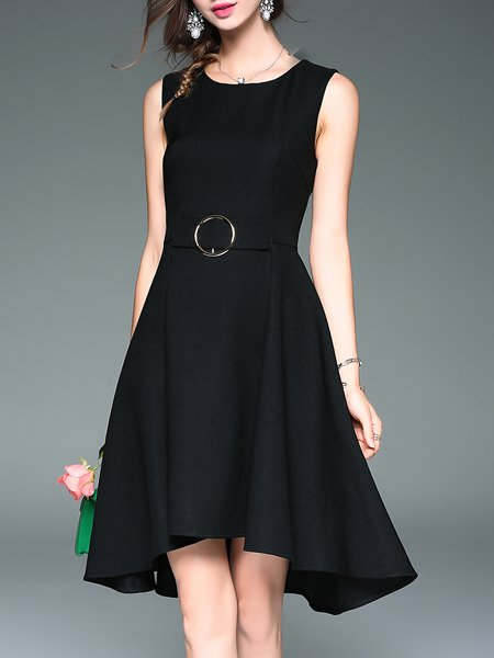 Solid Sleeveless Paneled Casual Midi Dress