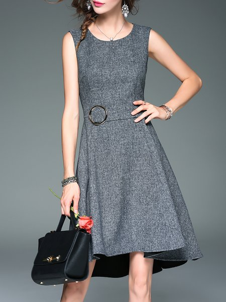 A-line Casual Plain Sleeveless Crew Neck Midi Dress