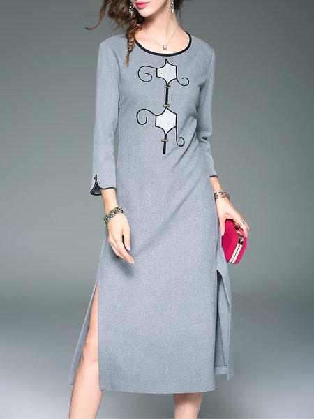 Slit Long Sleeve H-line Polyester Casual Plain Midi Dress