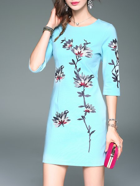 Crew Neck Vintage 3/4 Sleeve Sheath Embroidered Mini Dress
