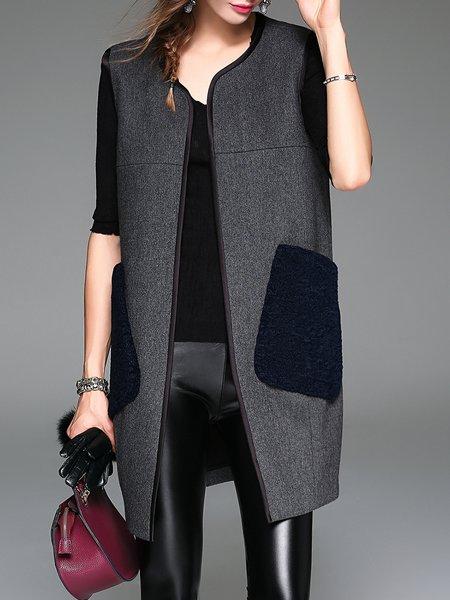 Gray Wool Blend Sleeveless Pockets Vest