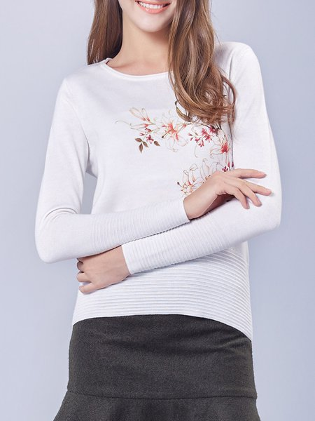 Beige Floral-print Knitted Elegant Sweater