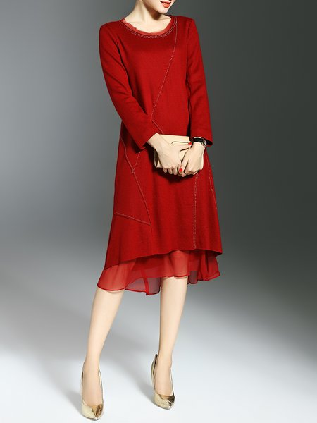 Wine Red Pockets Long Sleeve Midi Dress