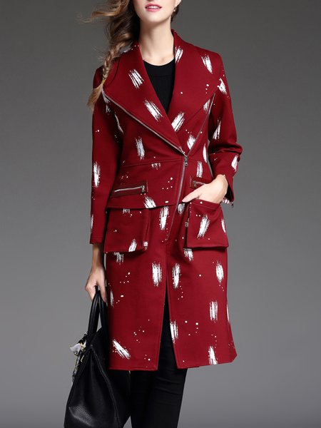 Printed Lapel Long Sleeve Shift Pockets Coat