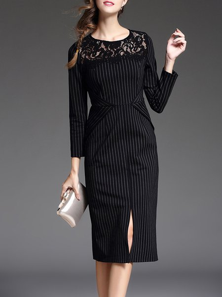Black Sheath Elegant Stripes Cotton-blend Midi Dress