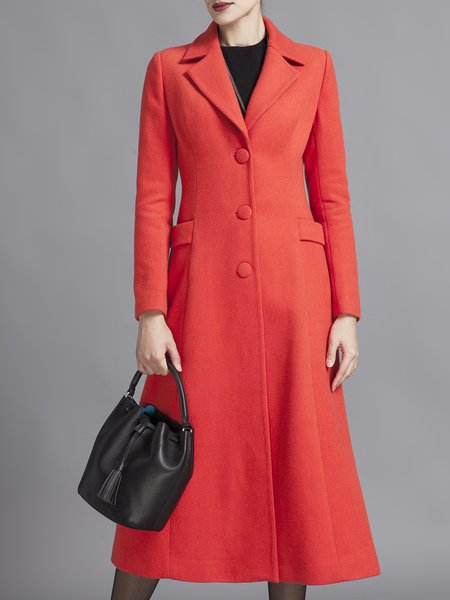 Buttoned Elegant Wool Blend Long Sleeve Coat