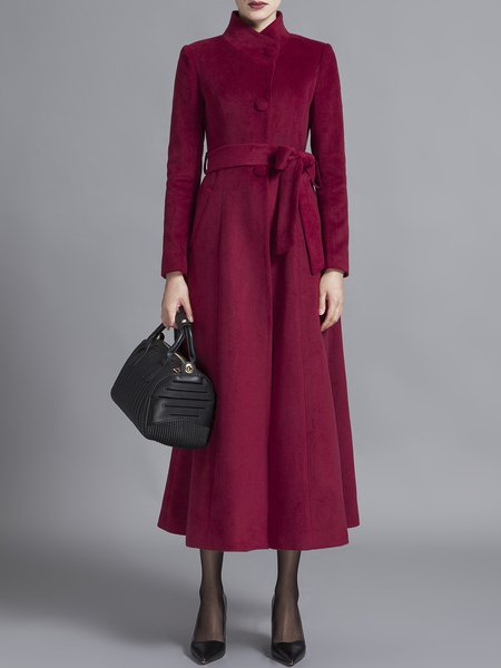 Wine Red Stand Collar Elegant A-line Coat