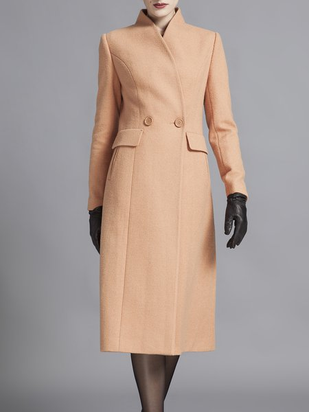 Camel Stand Collar  Plain Elegant Pockets Wool Coat