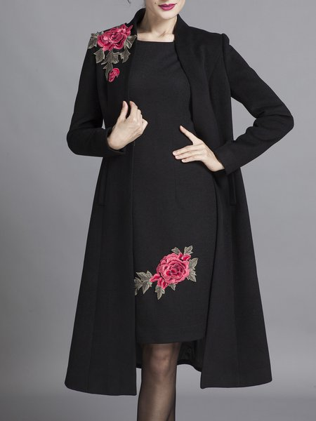 Black Wool Floral-embroidered Stand Collar Long Sleeve Coat