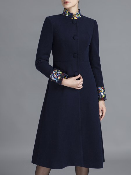 Navy Blue Plain A-line Elegant Paneled Crochet Stand Collar Coat