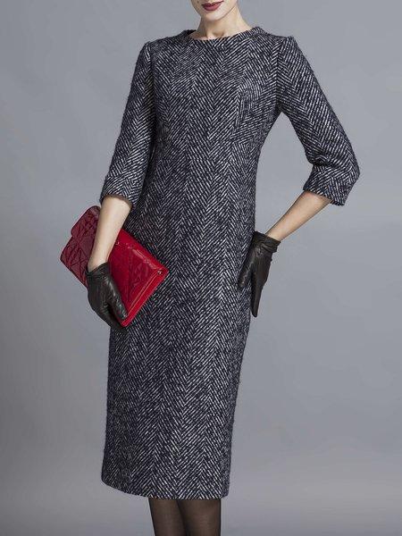 Wool Slit Stripes Elegant 3/4 Sleeve Midi Dress