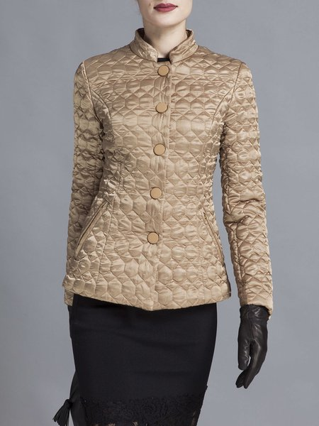Yellow Elegant H-line Buttoned Stand Collar Embossed Cropped Jacket
