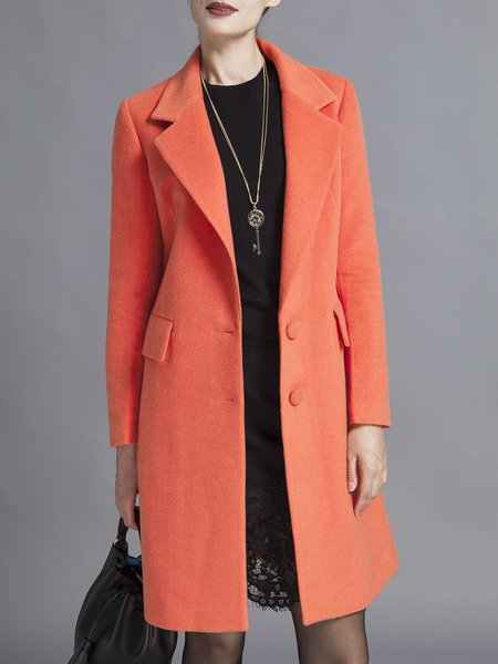 Orange Long Sleeve Buttoned Coat