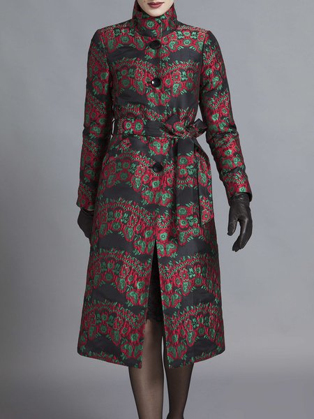 Multicolor Vintage Floral Print Buttoned Shift Coat