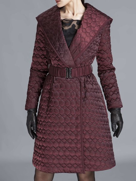Wine Red Buttoned Plain Long Sleeve Hoodie Trench Coat