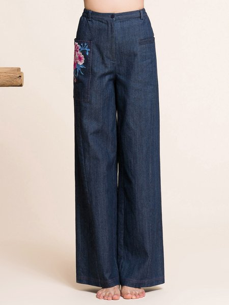Navy Blue Floral-embroidered Floral Simple Wide Leg Pants