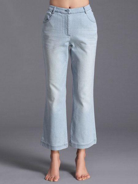Light Blue Floral-embroidered Simple Jean