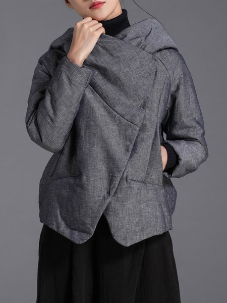 Gray Hoodie H-line Simple Cropped Jacket
