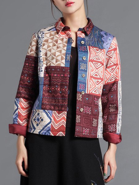 Vintage Tribal Printed Embroidered Shirt Collar H-line Cropped Jacket