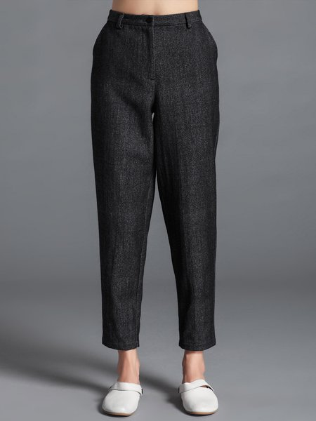 Deep Gray Casual Plain Wool-blend Straight Leg Pants
