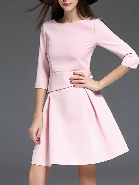 3/4 Sleeve Crew Neck Folds Simple Mini Dress
