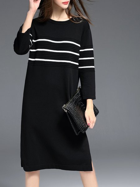Stripes Slit Cotton-blend Casual Long Sleeve Midi Dress