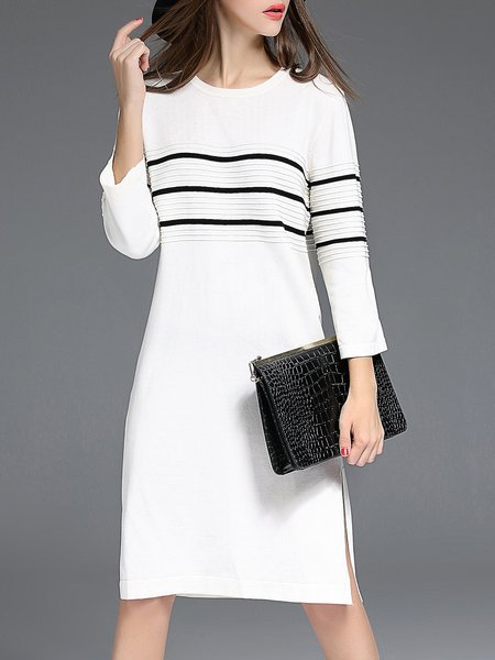 White H-line Crew Neck Casual Slit Midi Dress