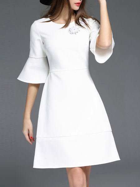White Plain A-line Simple Appliqued Midi Dress