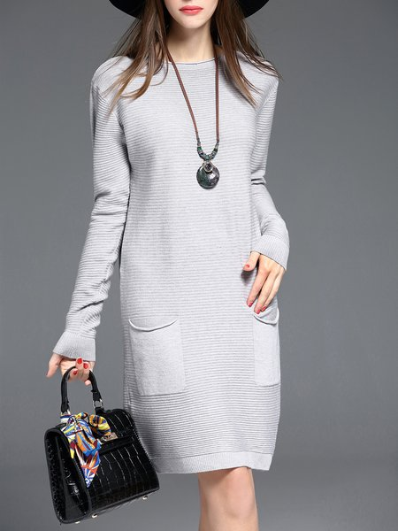 Light Gray Knitted H-line Long Sleeve Crew Neck Sweater Dress