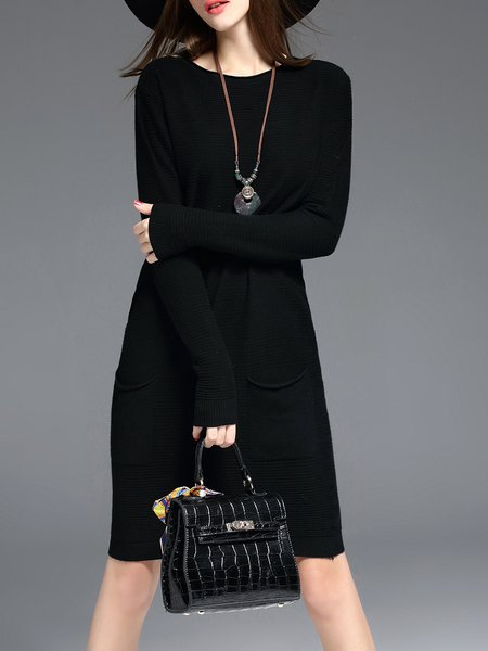 Black Long Sleeve Pockets Knitted Sweater Dress