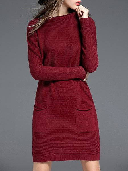 Burgundy Casual Crew Neck Plain Pockets Sweater Dress