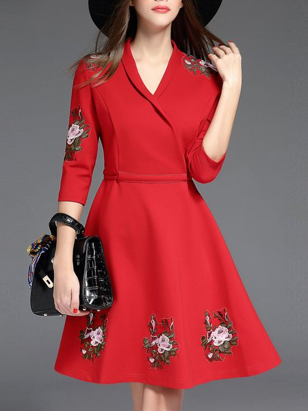 Red Plain A-line Embroidered 3/4 Sleeve Wrap Dress