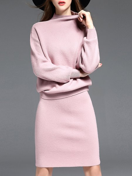 Pink Simple Knitted Plain Sweater Two Piece Dress