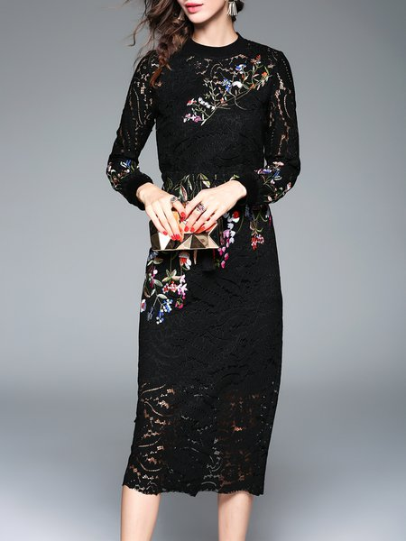 Black Sheath Floral-embroidered Lace Long Sleeve Midi Dress