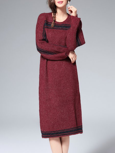 Binding Knitted Long Sleeve Sweater Dress