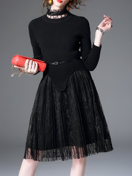 Black Long Sleeve Paneled Knitted Midi Dress