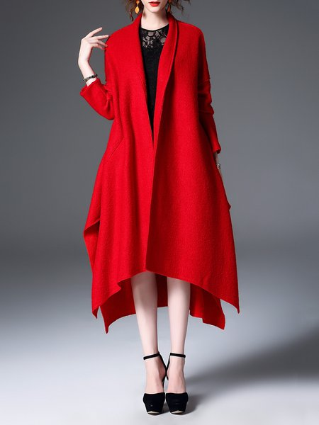 Red Asymmetrical Long Sleeve Capes Plain Coat