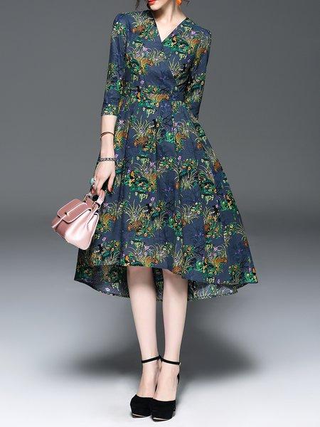 Navy Blue V Neck High Low 3/4 Sleeve Floral-print Midi Dress