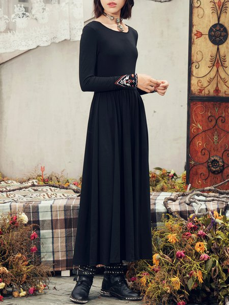 Embroidered A-line Knitted Boho Long Sleeve Backless Maxi Dress