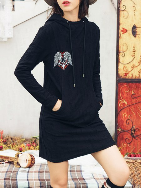 Black Hoodie Long Sleeve Embroidered Knitted Mini Dress