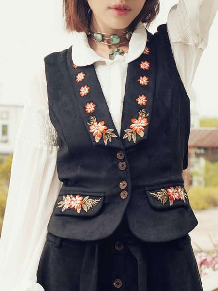 Black Floral Embroidered Boho Suede Vest