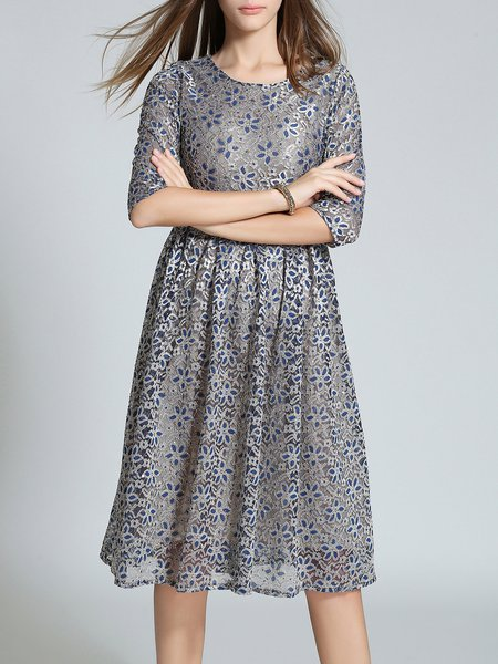 Navy Blue Guipure Lace Elegant Floral Midi Dress