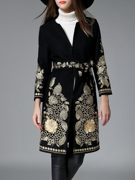 Black Casual Floral Embroidered Coat