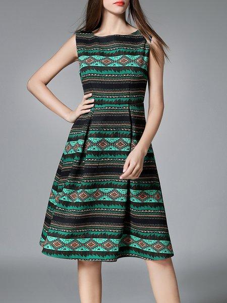 Green Vintage Polyester Tribal Printed Midi Dress