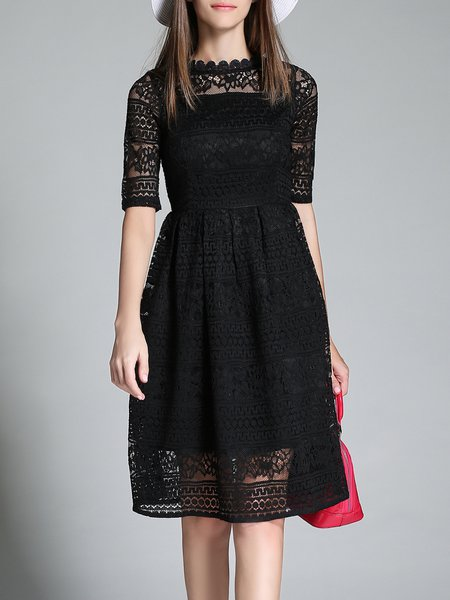 Girly Floral Guipure Lace Ruffled Half Sleeve Midi Dress