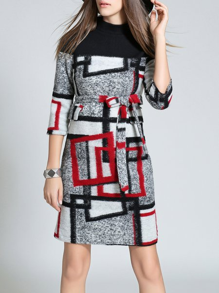 Wine Red Checkered/Plaid Printed Shift Casual Midi Dress