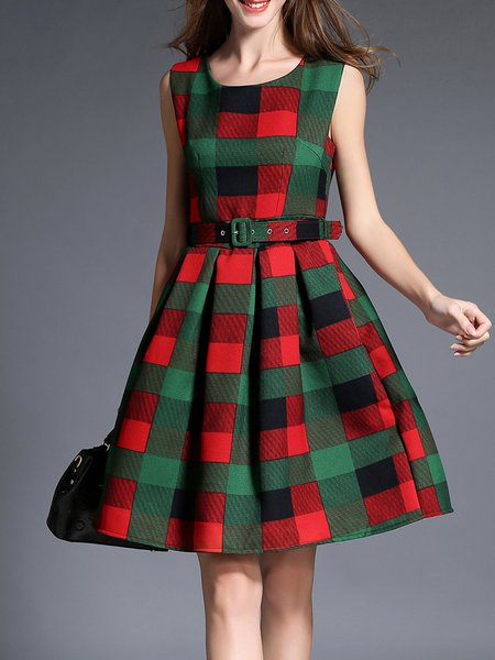 Red Checkered/Plaid Elegant Crew Neck Midi Dress